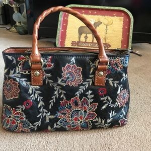Patricia Nash embroidered double handle satchel